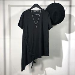 Original Summer Personality Dark Department Simple Asymmetric Long short-sleeved t-shirt Yuanshufeng Leisure Oblique Hem jacket