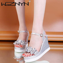 2021 Shoes Women Wedges Heels Diamond Sandals Young Ladies Casual Sandals Open Toe White Shoes Summer Leather Gladiator Sandals