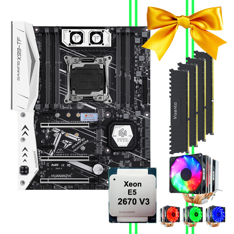 HUANANZHI X99 motherboard bundle X99-TF motherboard with dual M.2 slot M.2 WIFI slot CPU 2670 V3 with cooler RAM 64G(4*16G) DDR4 1