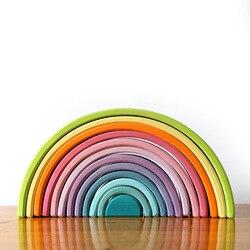 12 pçs de madeira arco-íris empilhamento blocos de quebra-cabeça empilhador jogo de aprendizagem geometria blocos de construção montessori brinquedos