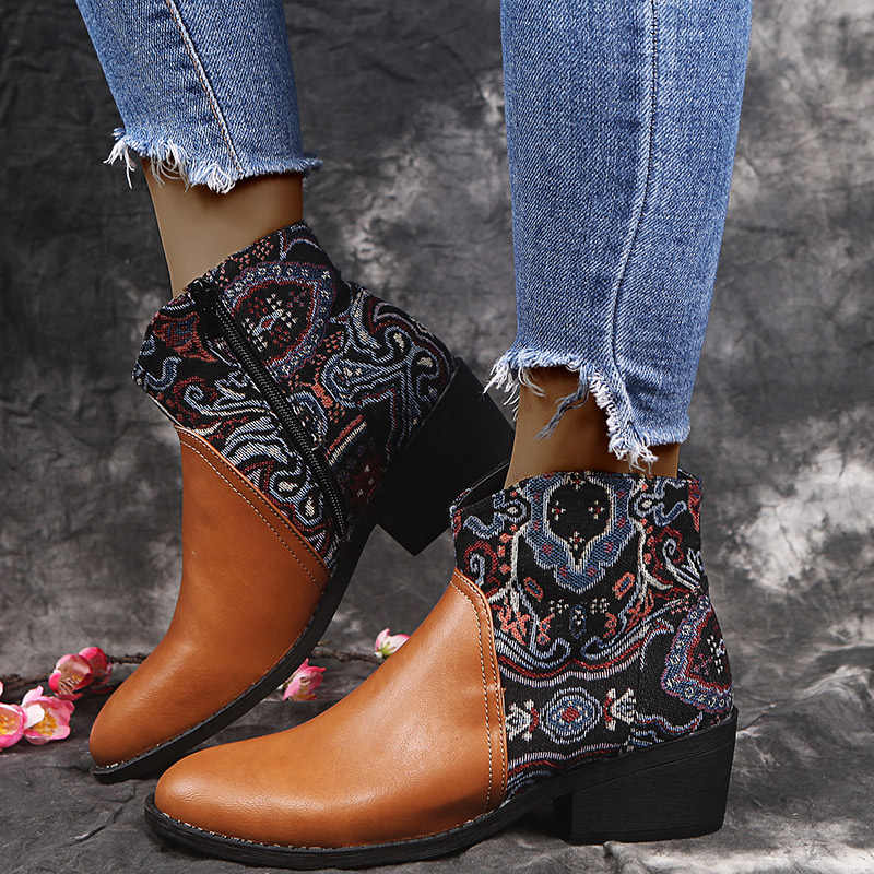 Wanita Bordir Sepatu Bot Musim Gugur Wanita Menunjuk Toe Heels 2020 Baru Wanita Pompa Sepatu Wanita sepatu Wanita Plus ukuran 43