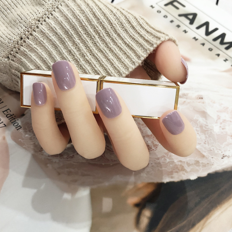 Fake Nails Patch Solid Color At Any Time Wearing Removable Wearable Finished Product Nail Sticker Douyin Celebrity Style Waterpr