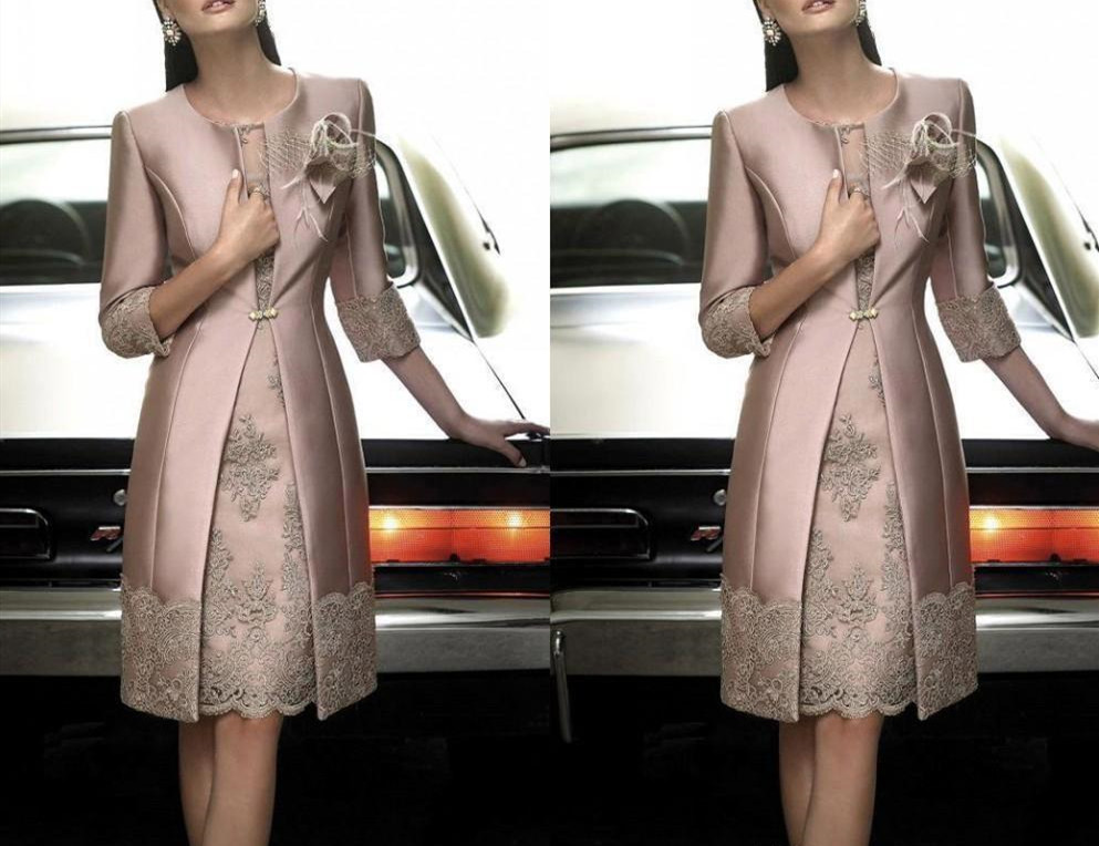 Elegant 2019 Mother OF The Bride Dresses Long Coat Jewel 3/4 Long Sleeve Formal Dress Lace Applique Knee-Length Evening Gown