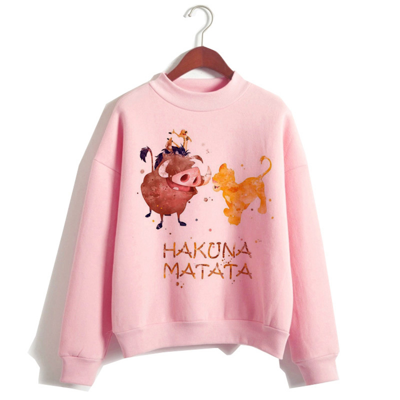 Lion King Hakuna Matata Hoodie Women Funny Cartoon Harajuku Sweatshirt Hip Hop Hood Female Kawaii Print Casual Ulzzang Hooded