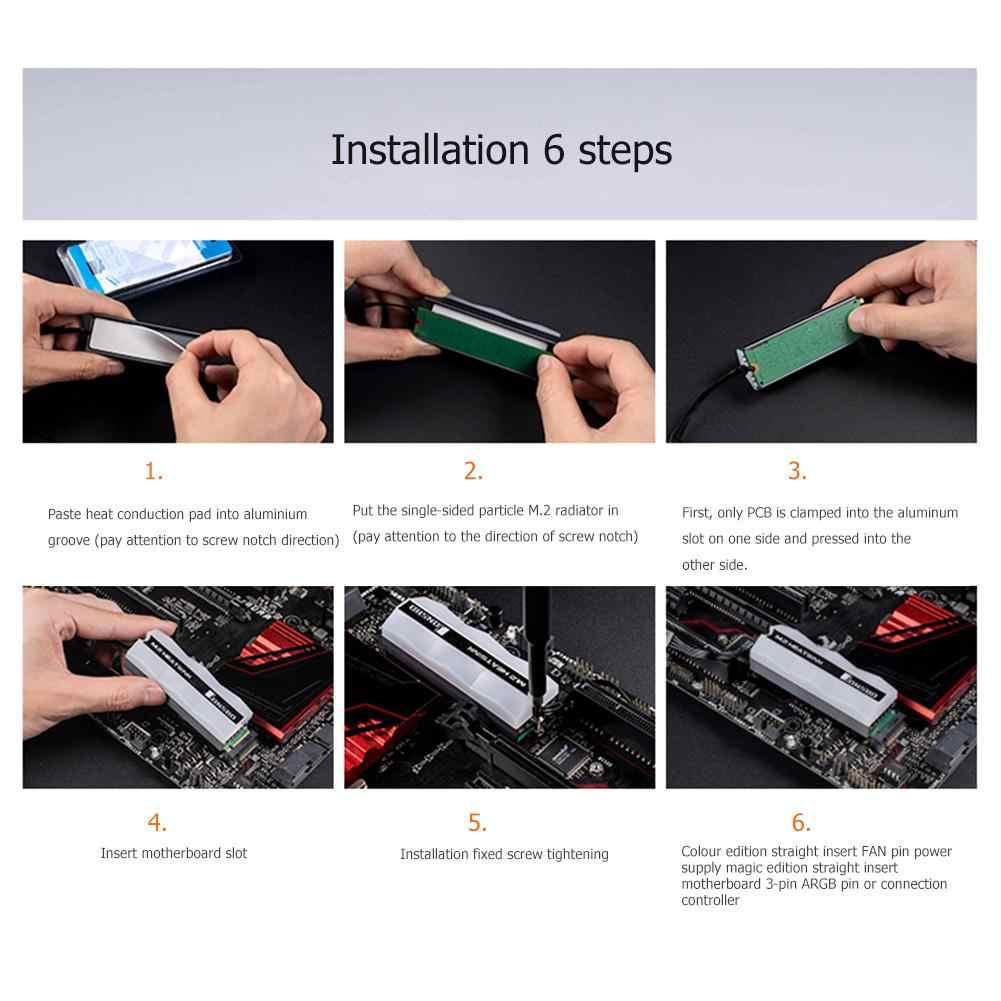 Jonsbo M.2 Radiator M.2 2280 SSD Radiator lampa kolorowa półprzewodnikowy dysk twardy chłodnica grzejnika wentylator Pin rozpraszanie ciepła