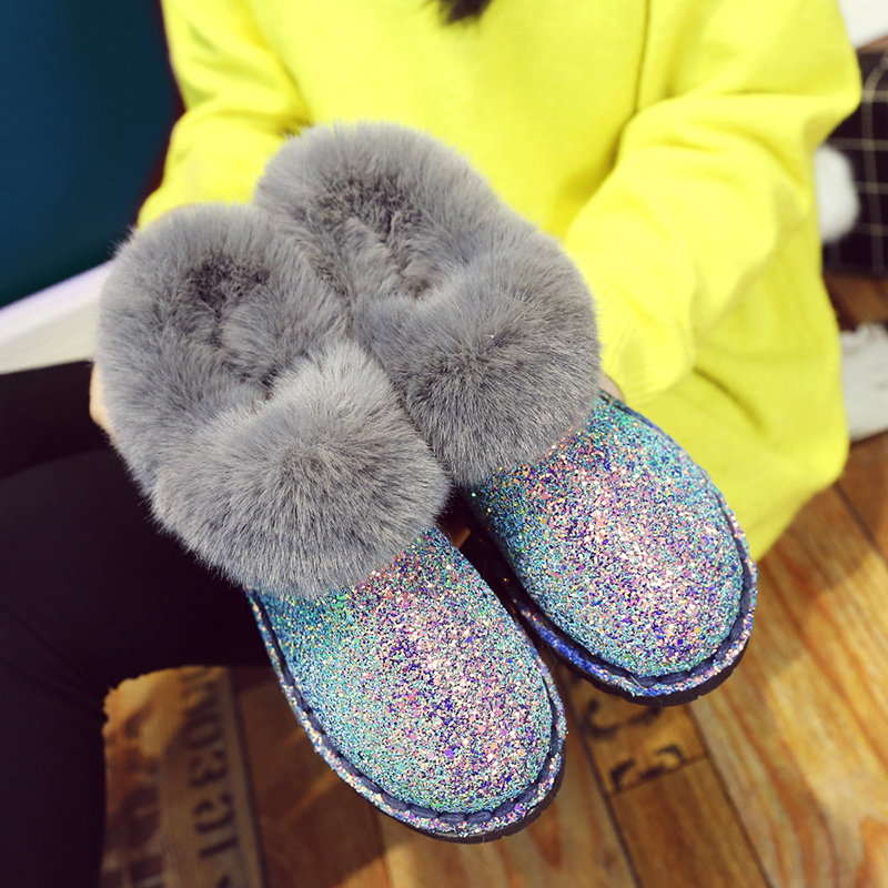 2019 New Winter Women Sequins Snow Boots Fashion Thicken Plush Shiny Cotton Shoes Thick Bottom Non-slip Warm Ankle Boots 36-41 15