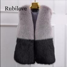 Rubilove Furry Luxury Imitation Fox Fur Medium-long 2019 Winter Waistcoat Faux Vest For Women XL