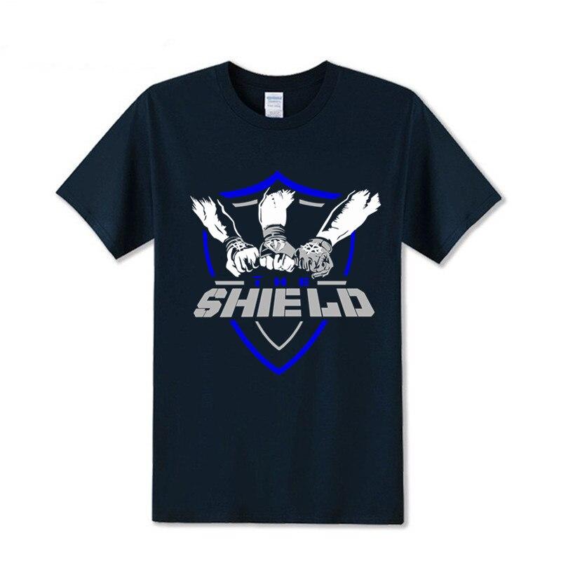 100% algodão o escudo dean ambrose seth rollins roman reina t-shirts impressas masculinas frete grátis