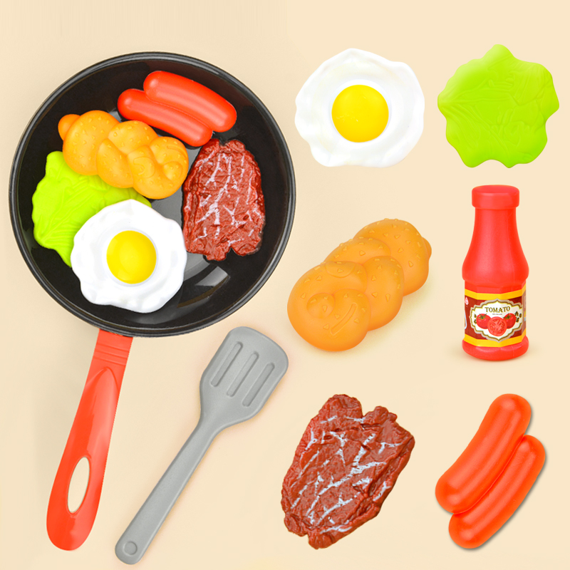 8PCS Kitchen Food Toys Simulation Kitchenware Play Set Pretend Play Pot Steak Vegetable Bread Hot Dog Omelette Children Girl Toy