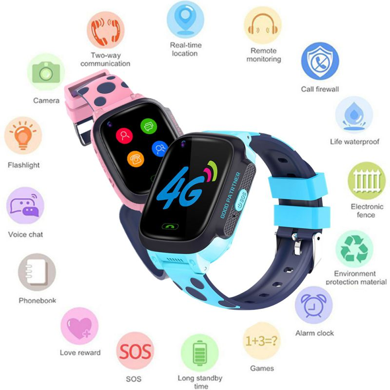 Kids Smart Watch Telephone Watch Video Call GPS LBS Tracker Phone 4G Children Wrist Watch Smartwatch Girls Boys Birthday Gifts