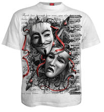 Camiseta Unisex Spiral Direct REBELLION calavera máscara anónima Rock Vendetta(China)