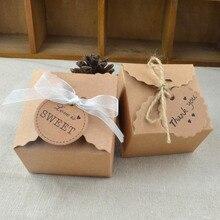 5 uds Mini caja de papel Kraft Retro caja de regalo de boda cajas para dulces de fiesta caja de embalaje con cinta y etiqueta