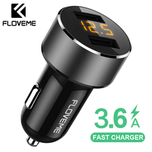 FLOVEME 18W USB Car Charger For iPhone Xiaomi Dual Port Car Chargeur Charger USB 3.6A Fast Charging Car Charger For Mobile Phone(China)