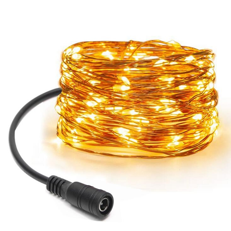 10M 100 LEDs DC 12 Volt Waterproof Copper Wire String Lights Outdoor Christma Decor Garland Bedroom Wedding Party Fairy Lights