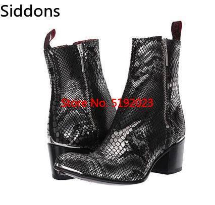 2019 Latest Colorful Black Snake Pattern Chelsea Men's Boots  Bota Coturnos Masculino Mens Chelsea Boots Zapatos De Hombre D307