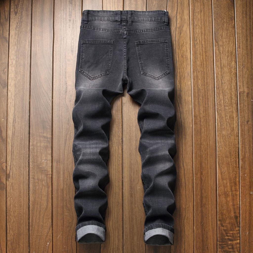 New Brand Men's Jeans Fashion Male Unique Cotton Stretch Jeans Man's Casual Character Pattern Biker Jeans  8.8