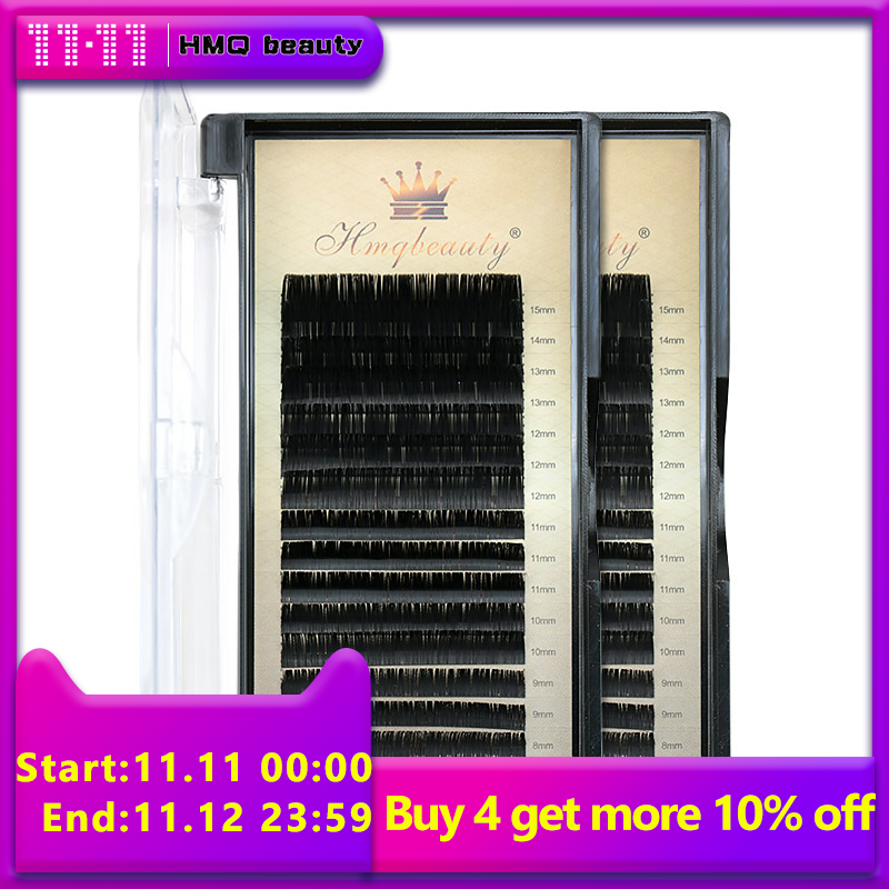 16Rows/Case 7~15mm Mix 3d Mink Lashes Premium Natural Synthetic Mink Individual Eyelash Extension Makeup The Patches For Eyelash