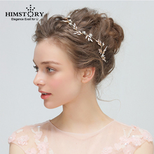 HIMSTORY Gold Handmade LEaf Vine Rhinestone Crystal  Floral Bridal Wedding Tiara Headband Headpiece Hair accessories недорого