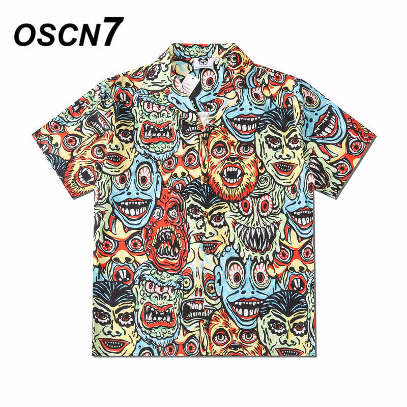OSCN7カジュアルプリント半袖シャツ男性ストリート2020ハワイのビーチオーバーサイズ女性のファッションharujuku男性CS320