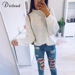DICLOUD Turtleneck Oversized White Sweater Women Autumn 2019 Long Sleeve Pullover Knitted Jumper Winter Jersey Woman 3