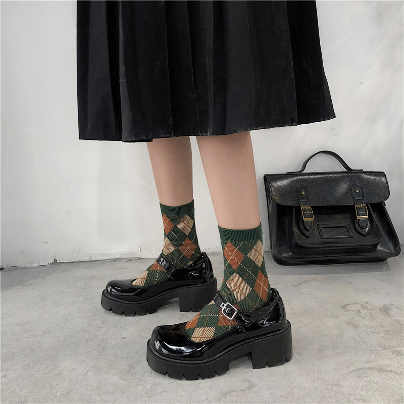 Lucyever Patent Leather Shoes Spring Autumn Mary Jane Shoes Women's Buckle Strap High Heels Retro Platform Lolita Shoes Woman
