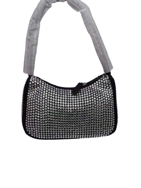 Bag For Women New Fashion Shoulder Bag Rhinestone Ladies Womens Canvas Underarm Bag Weave Bag Square Crossbody Bags-BeeInFly