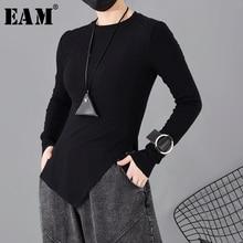 [EAM] Women Black Asymmetrical Hem Temperament T-shirt New Round Neck Long Sleeve  Fashion Tide  Spring Autumn 2021 1H31201