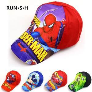 2020 Baby boy girl hats New Cartoon Spiderman print baby Embroidery Cotton Baseball Caps kids Boy Girl Hip Hop Hat kids Snapback