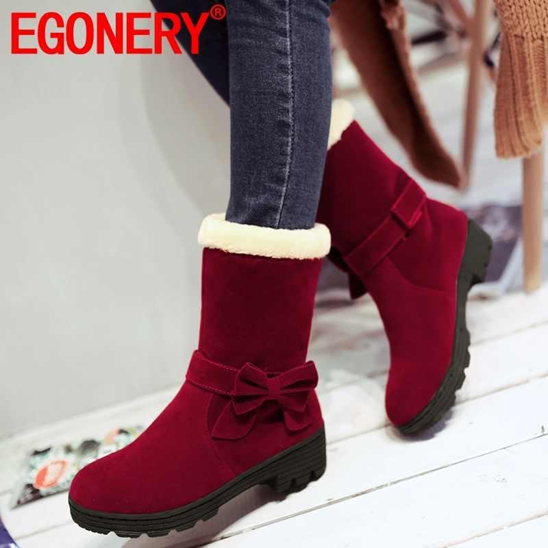 EGONERY kış yeni tatlı sıcak kar botları dış casual yuvarlak ayak orta topuklu platform akın kadın ayakkabı damla nakliye boyutu 32-40