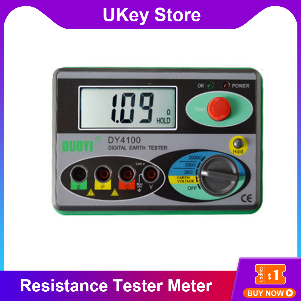 DY4100 Ground Resistance Tester Meter Real Digital Earth Tester Ground Resistance Instrumet Megohmmeter 0-2000Ohm HigherAccuracy