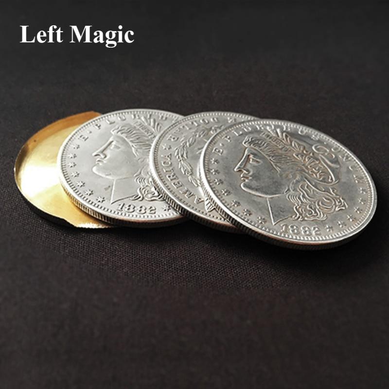 Illusion Coin ( Morgan Coin Version) Magic Tricks 3 Fly Coins Magic Trick Props Fire  Comedy Ring