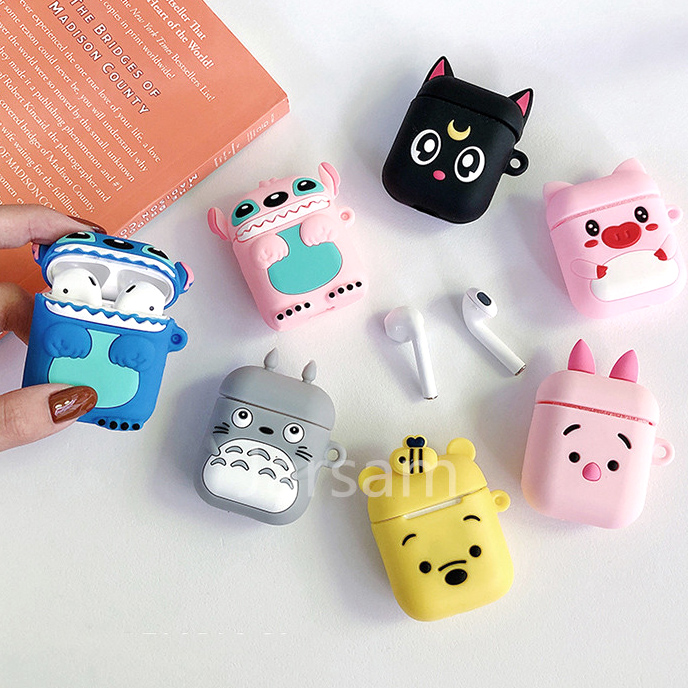 Cartoon Cute Box Wireless Headset Case For Apple Airpods 1 2 Earphone Soft Silicone Cover For Airpods Protective Cases