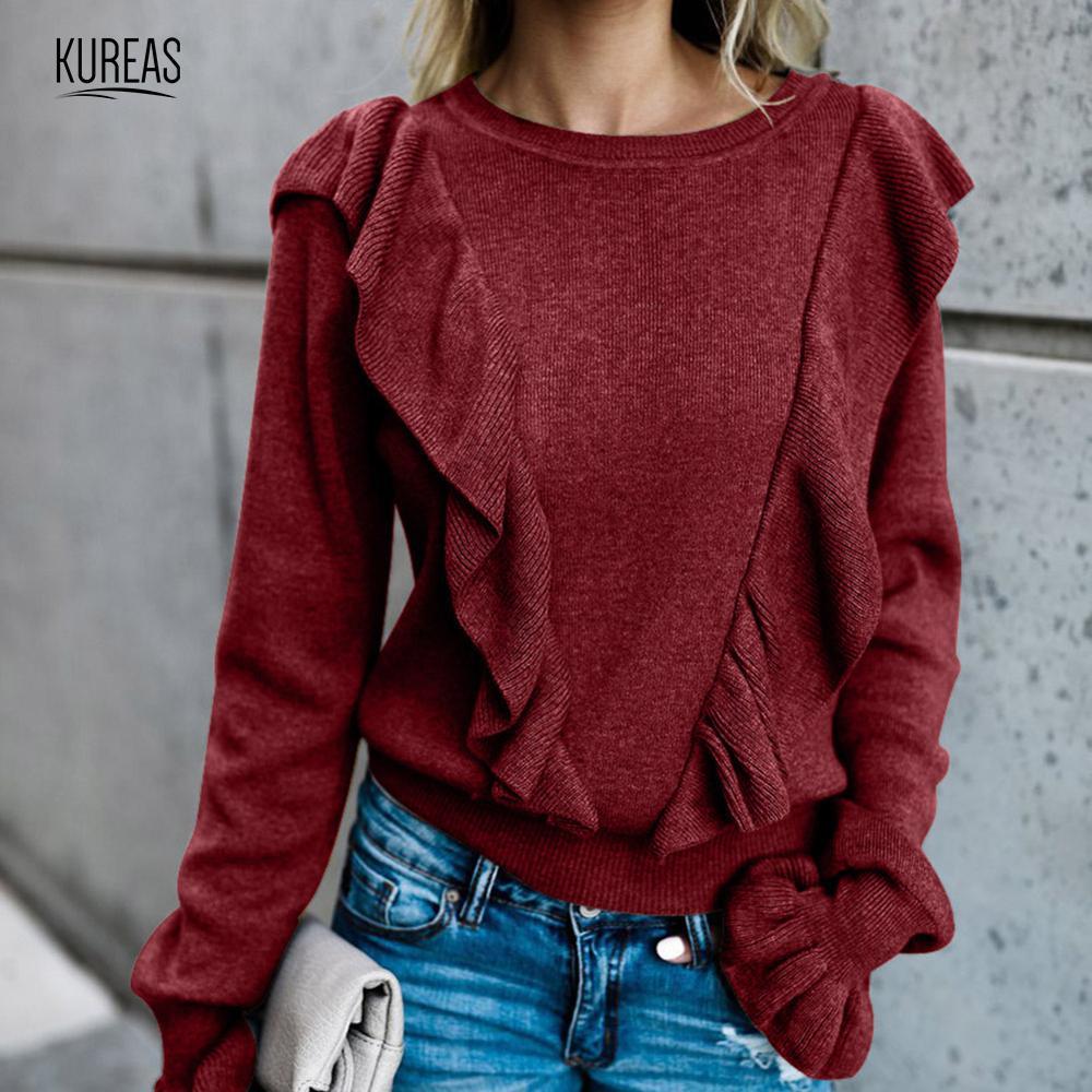 Kureas Women Sweater Winter Autumn Pullovers Ruffles Flare Sleeve Tops Turtleneck Loose Casual