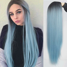 Synthetic Wigs AZQUEEN Straight Women Cosplay Blue Long Heat-Resistant Ombre for Middle-Part