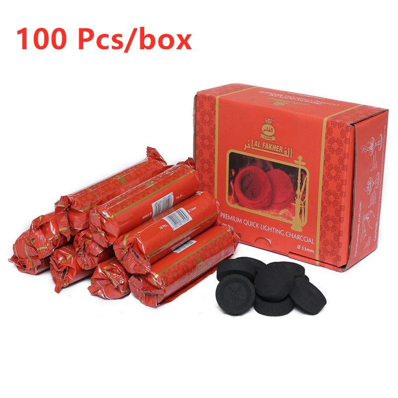 Chaud 1 boîte (100 pièces/boîte) Shisha narguilé charbon de bois Naturel Al rapidement léger charbon de bois dernière longue durée entièrement brûlant charbon Chicha Sheesha