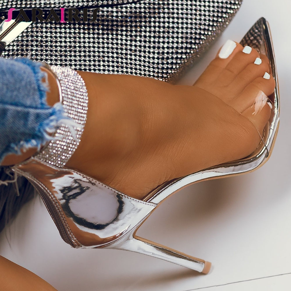 SARAIRIS 35-42 new INS hot lady thin high heels sandals crystal shining summer sandals women 2020 party wedding sexy shoes woman