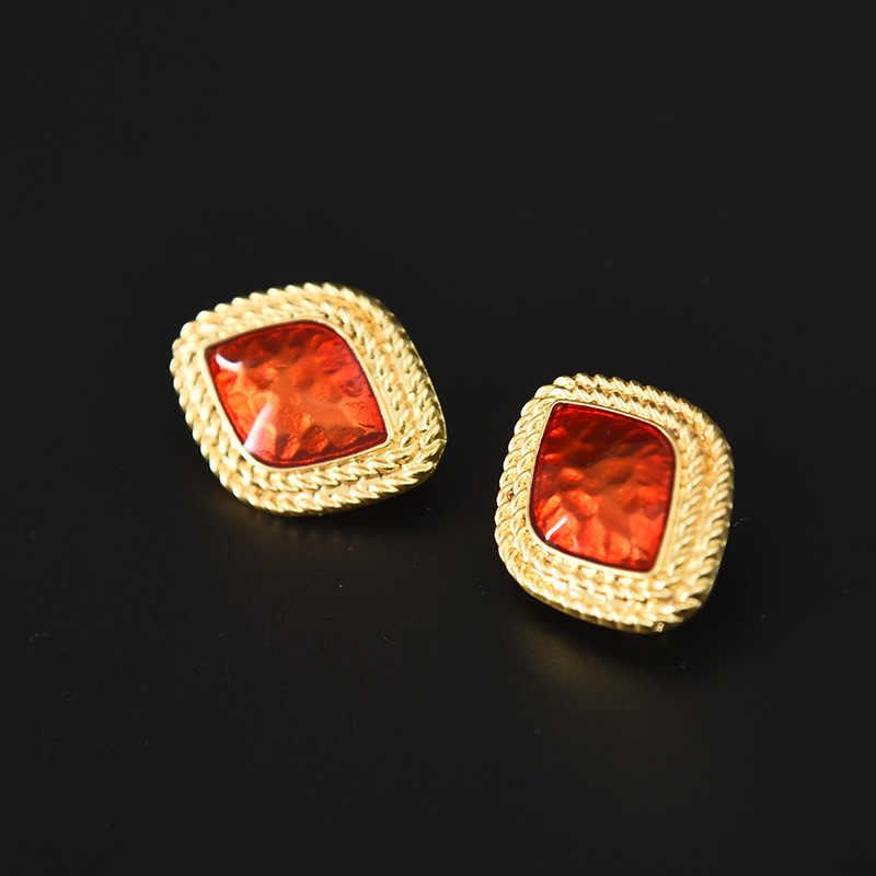 2 Màu Đỏ Và Xanh Đá Quý Bông Tai Vàng Thời Trang Bông Tai Nữ Cô Gái Thả Bông Tai Trang Sức Bông Tai