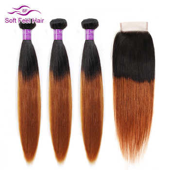 Soft Feel Hair T1B/30 Ombre Malaysian Straight Hair Bundles With Closure Brown Human Hair 3 Bundles With Closure Remy Extensions - DISCOUNT ITEM  56% OFF All Category
