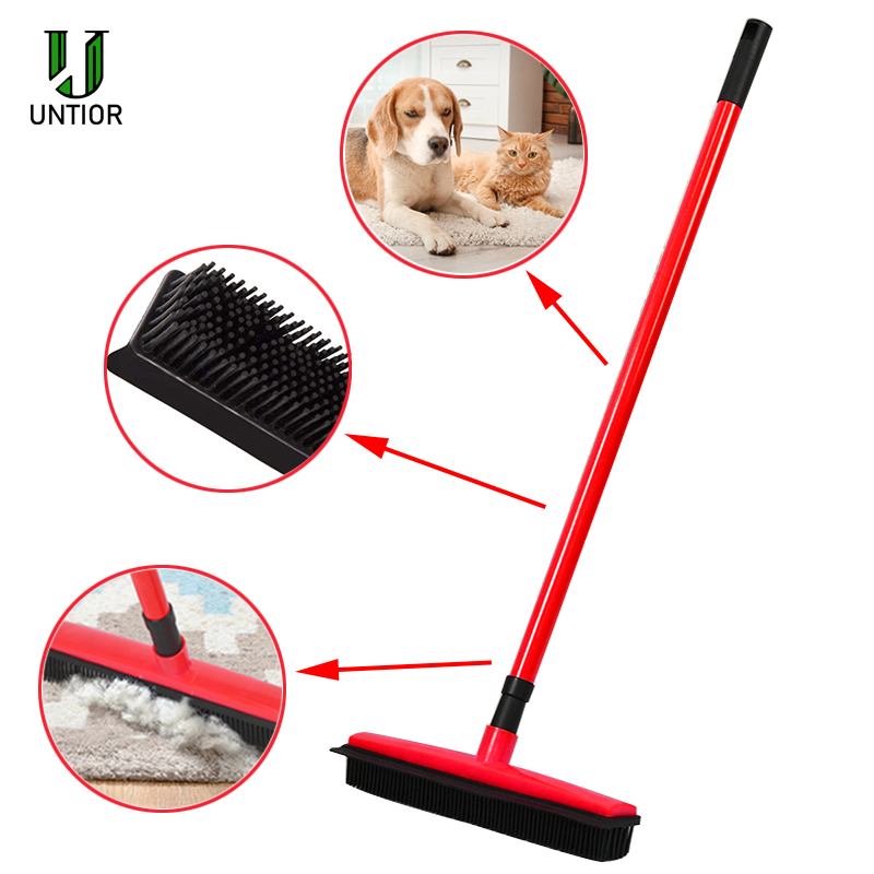 UNTIOR Floor Hair Broom Dust Scraper & Pet rubber Brush Carpet carpet cleaner Sweeper No Hand Wash Mop Clean Wipe Window Tool title=