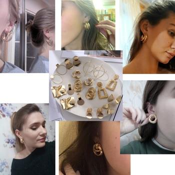 FNIO Fashion Vintage Earrings For Women Big Geometric Statement Gold Metal Drop Earrings 2020 Trendy Earings Jewelry Accessories 3