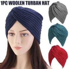 Hat Women Costume-Hat Turban Headwrap Cross-Twisted-Cap Knot National Woolen Winter