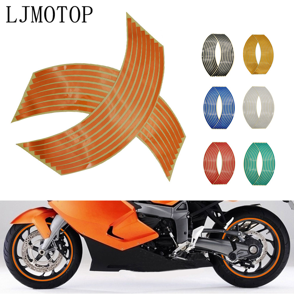 Motorcycle Wheel <font><b>Sticker</b></font> Motocross Reflective Decals Rim Tape Strip For <font><b>KTM</b></font> 300 EXC XC 350SX-F 350XC-F <font><b>450</b></font> SX SX-F SX-R 525EXR-W image