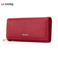YIZHONG Leather Luxury Women Long Wallets and Purses Female