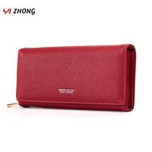 YIZHONG Leather Luxury Women Long Wallets and Purses Female