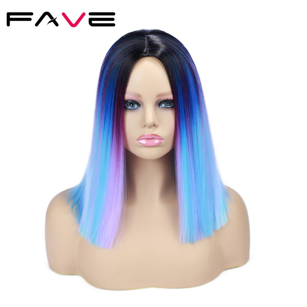 FAVE Ombre Wigs Short Bob Synthetic Wig Rainbow Colorful Straight Hair Middle Part Cosplay Heat Resistant Fiber Forr Black Women