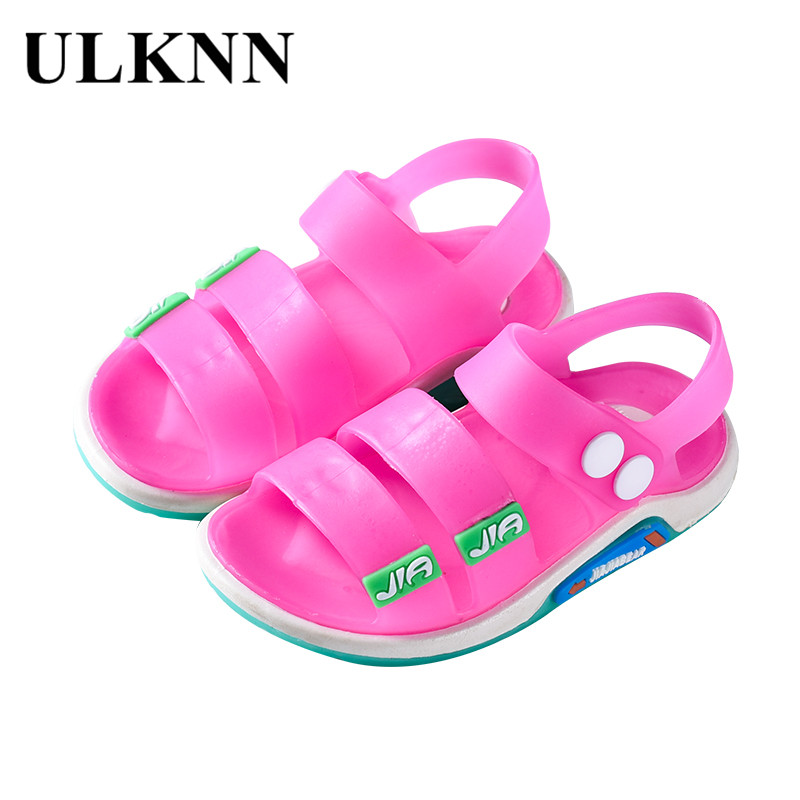 ULKNN New Summer Jelly Children Sandals Baby Girls Sandals Flat Boys Beach Shoes Soft PVC Casual Kids Shoes Breathable Non-slip