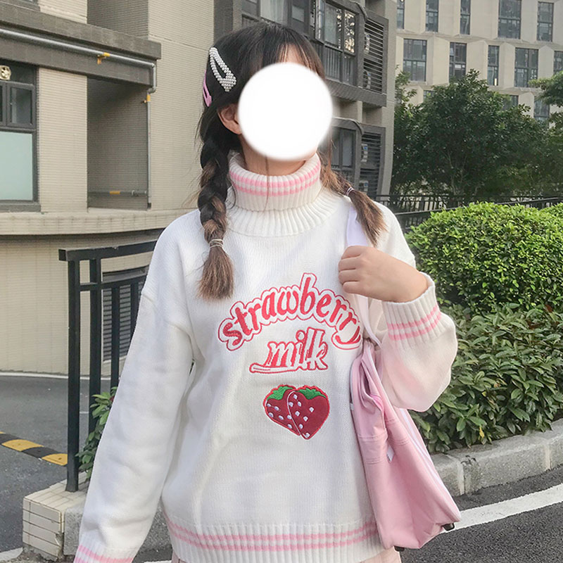 Kawaii Strawberry Embroidered Sweater 1