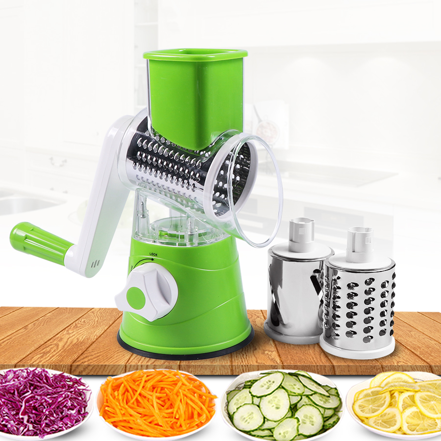 Vegetable Cutter Round Mandoline Slicer Potato Carrot Grater Slicer with 3 Stainless Steel Chopper Blades Kitchen ToolsGraters   -