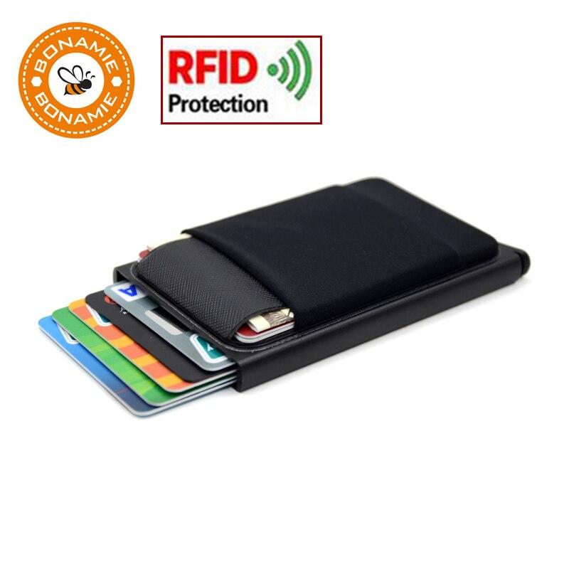 BONAMIE Cartera de aluminio con bolsa trasera elástica ID titular de la tarjeta de crédito RFID Mini cartera delgada automático Pop up Bank Card Case