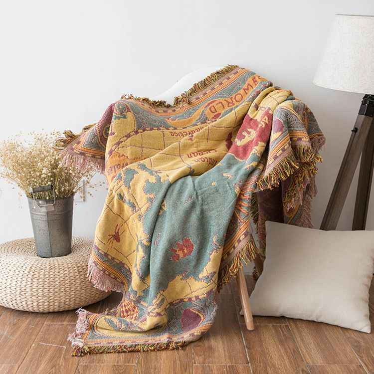 World map Cotton Bohemian Chenille Plaids Blanket Sofa Decorative Throws on  Sofa/Bed large Cobertor Blanket With Tassel T275